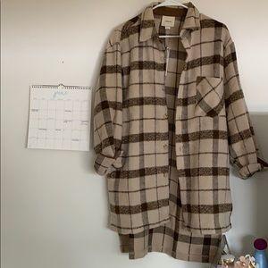 i.madeline brown tan plaid oversized shirt jacket